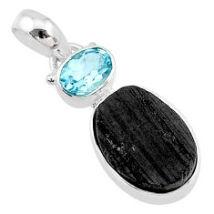 3.11cts natural black tourmaline raw topaz 925 sterling silver pendant t9775
