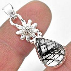 5.81cts natural black tourmaline rutile 925 silver flower pendant t45497