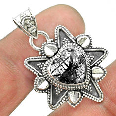 5.36cts natural black tourmaline rutile 925 sterling silver heart pendant t56095