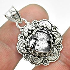 5.12cts natural black tourmaline rutile 925 sterling silver heart pendant t56146