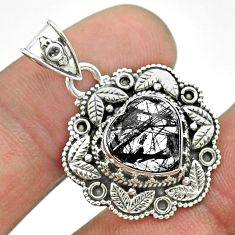 5.38cts natural black tourmaline rutile 925 sterling silver heart pendant t56159