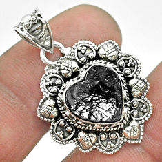 5.35cts natural black tourmaline rutile 925 sterling silver heart pendant t56187