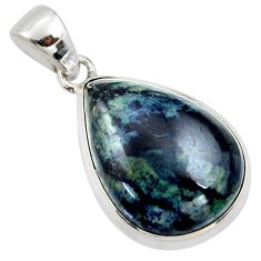16.73cts natural black vivianite 925 sterling silver pendant jewelry r39981