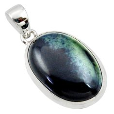 17.57cts natural black vivianite 925 sterling silver pendant jewelry r39985