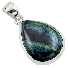 15.15cts natural black vivianite 925 sterling silver pendant jewelry r39989