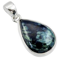 14.20cts natural black vivianite 925 sterling silver pendant jewelry r39997