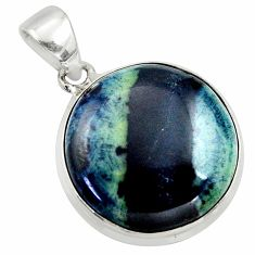 17.22cts natural black vivianite 925 sterling silver pendant jewelry r40002