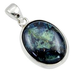 17.57cts natural black vivianite 925 sterling silver pendant jewelry r40006