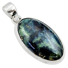 16.20cts natural black vivianite 925 sterling silver pendant jewelry r40008