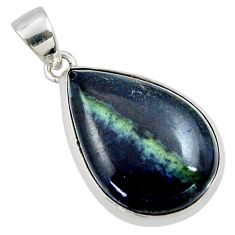 17.57cts natural black vivianite 925 sterling silver pendant jewelry r40010