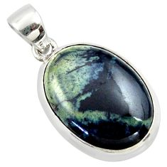 17.18cts natural black vivianite 925 sterling silver pendant jewelry r40015