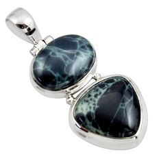 19.07cts natural black vivianite 925 sterling silver pendant jewelry r44778