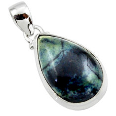13.67cts natural black vivianite 925 sterling silver pendant jewelry r46243