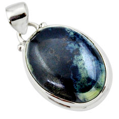 14.07cts natural black vivianite 925 sterling silver pendant jewelry r46244