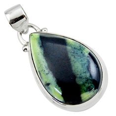 13.55cts natural black vivianite 925 sterling silver pendant jewelry r46249