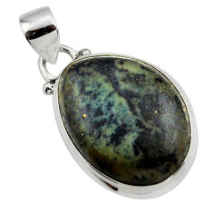 14.40cts natural black vivianite 925 sterling silver pendant jewelry r46250