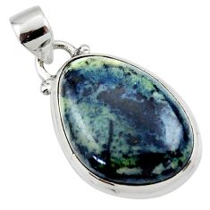 14.42cts natural black vivianite 925 sterling silver pendant jewelry r46252