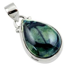 10.90cts natural black vivianite 925 sterling silver pendant jewelry r46254