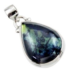 13.70cts natural black vivianite 925 sterling silver pendant jewelry r46616