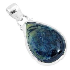 10.08cts natural black vivianite 925 sterling silver pendant jewelry r94254