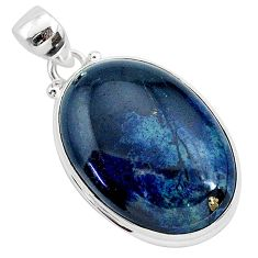 18.68cts natural black vivianite 925 sterling silver pendant jewelry r94902