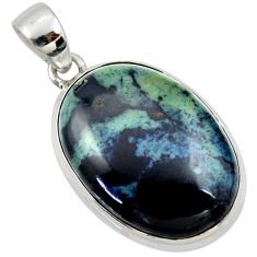 19.72cts natural black vivianite oval 925 sterling silver pendant jewelry r40001