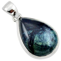 15.65cts natural black vivianite pear 925 sterling silver pendant jewelry r39983
