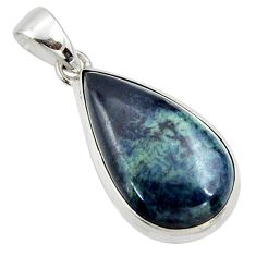15.08cts natural black vivianite pear 925 sterling silver pendant jewelry r39990
