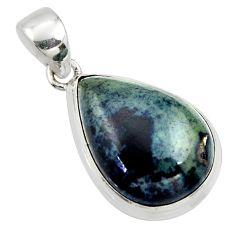 16.20cts natural black vivianite pear 925 sterling silver pendant jewelry r39995