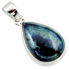 15.08cts natural black vivianite pear 925 sterling silver pendant jewelry r39999