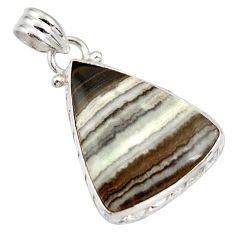 Clearance Sale- 16.20cts natural black zebra jasper 925 sterling silver pendant jewelry d41856