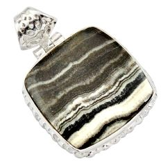 19.72cts natural black zebra jasper 925 sterling silver pendant jewelry d41858