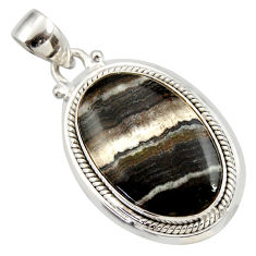 Clearance Sale- 16.73cts natural black zebra jasper 925 sterling silver pendant jewelry d41859