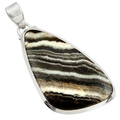 Clearance Sale- 25.00cts natural black zebra jasper 925 sterling silver pendant jewelry d41861