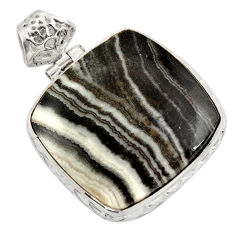 27.70cts natural black zebra jasper 925 sterling silver pendant jewelry d41862