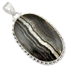 Clearance Sale- 31.50cts natural black zebra jasper 925 sterling silver pendant jewelry d41864