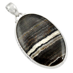 Clearance Sale- 27.05cts natural black zebra jasper 925 sterling silver pendant jewelry d41868