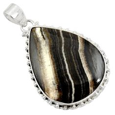 27.08cts natural black zebra jasper 925 sterling silver pendant jewelry d41870