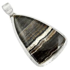 Clearance Sale- 32.48cts natural black zebra jasper 925 sterling silver pendant jewelry d41871