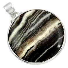 Clearance Sale- 27.08cts natural black zebra jasper 925 sterling silver pendant jewelry d41873