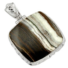 29.75cts natural black zebra jasper 925 sterling silver pendant jewelry d41874