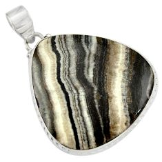 26.65cts natural black zebra jasper 925 sterling silver pendant jewelry d41880