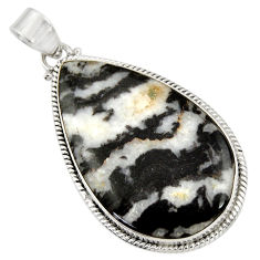 Clearance Sale- 33.24cts natural black zebra jasper 925 sterling silver pendant jewelry d42197