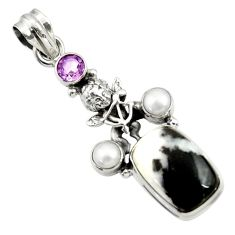 Clearance Sale- 14.21cts natural black zebra jasper amethyst 925 silver angel pendant d45156