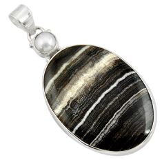 Clearance Sale- 29.75cts natural black zebra jasper pearl oval sterling silver pendant d41865
