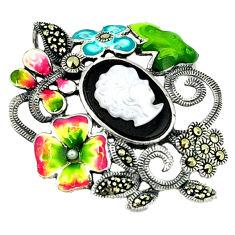 Natural blister pearl balck onyx enamel 925 silver flower pendant c18844