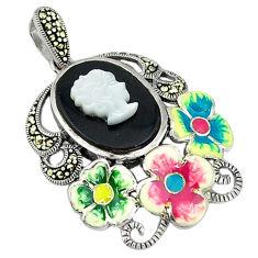 Natural blister pearl black onyx enamel 925 silver flower pendant c18853