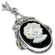 Natural blister pearl carved lady cameo 925 sterling silver pendant c20871