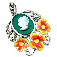 Natural blister pearl chalcedony enamel 925 silver flower pendant c18841