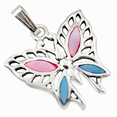 2.27gms natural blister pearl enamel 925 silver butterfly pendant c26359